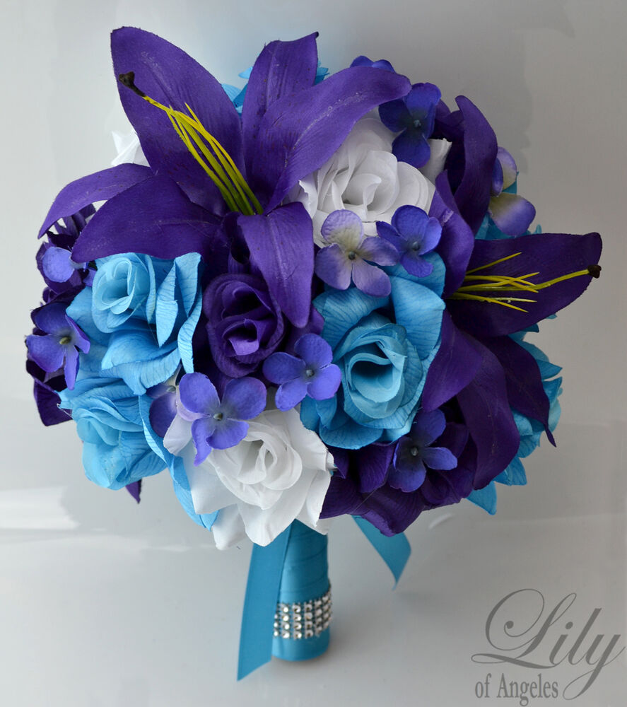 Wedding Flower Decoration Photos: 17pcs Wedding Bridal Bouquet Set Silk Flower Decoration