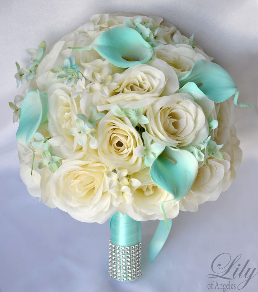 17pcs wedding bridal bouquet set silk flower decoration ivory tiffany blue ebay - Flowers good luck bridal bouquet ...