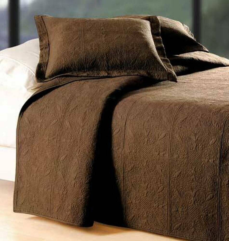CHOCOLATE BROWN Twin Full Queen or King QUILT : 100% COTTON ... : quilted cotton coverlet - Adamdwight.com