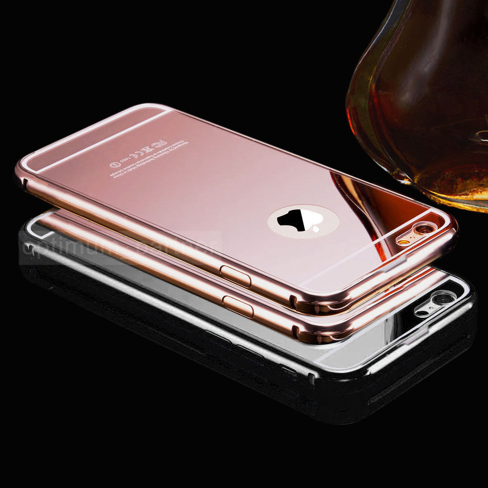 New luxury aluminum ultra thin mirror metal case cover for for Phone mirror