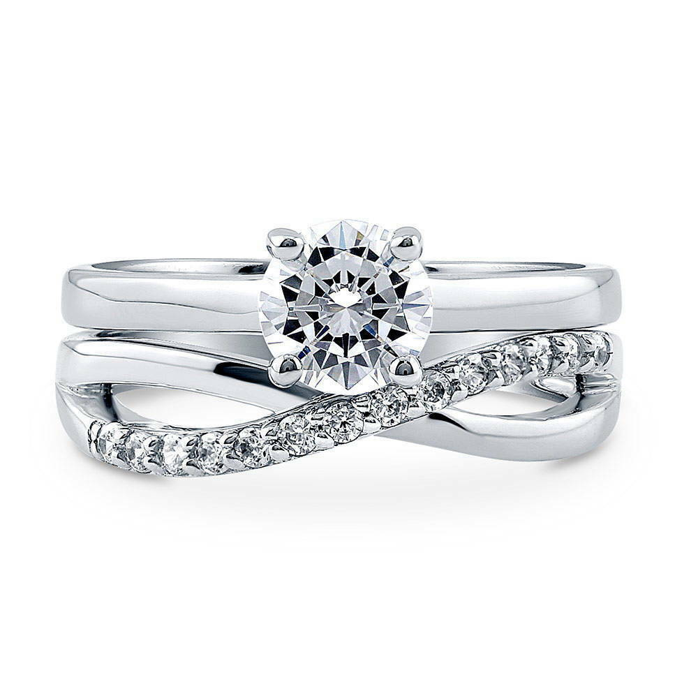 berricle sterling silver cz criss cross solitaire engagement ring set carat ebay. Black Bedroom Furniture Sets. Home Design Ideas
