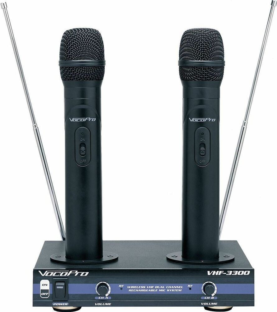 vocopro vhf 3300 2 channel vhf dual rechargeable wireless microphone system 692868833007 ebay. Black Bedroom Furniture Sets. Home Design Ideas