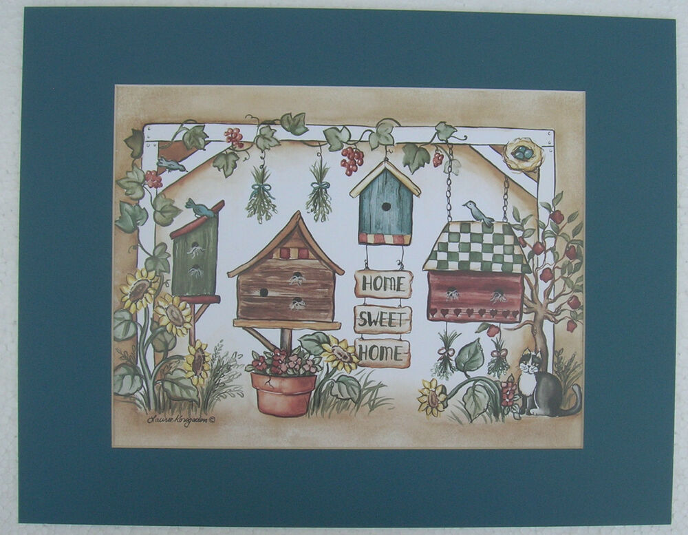 Cats country pictures birdhouse matted country picture print home decor ebay - Home decor picture ...