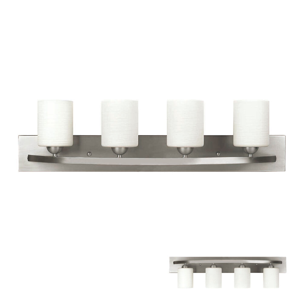 Brushed nickel 4 globe vanity bath light bar interior for Bar fixtures