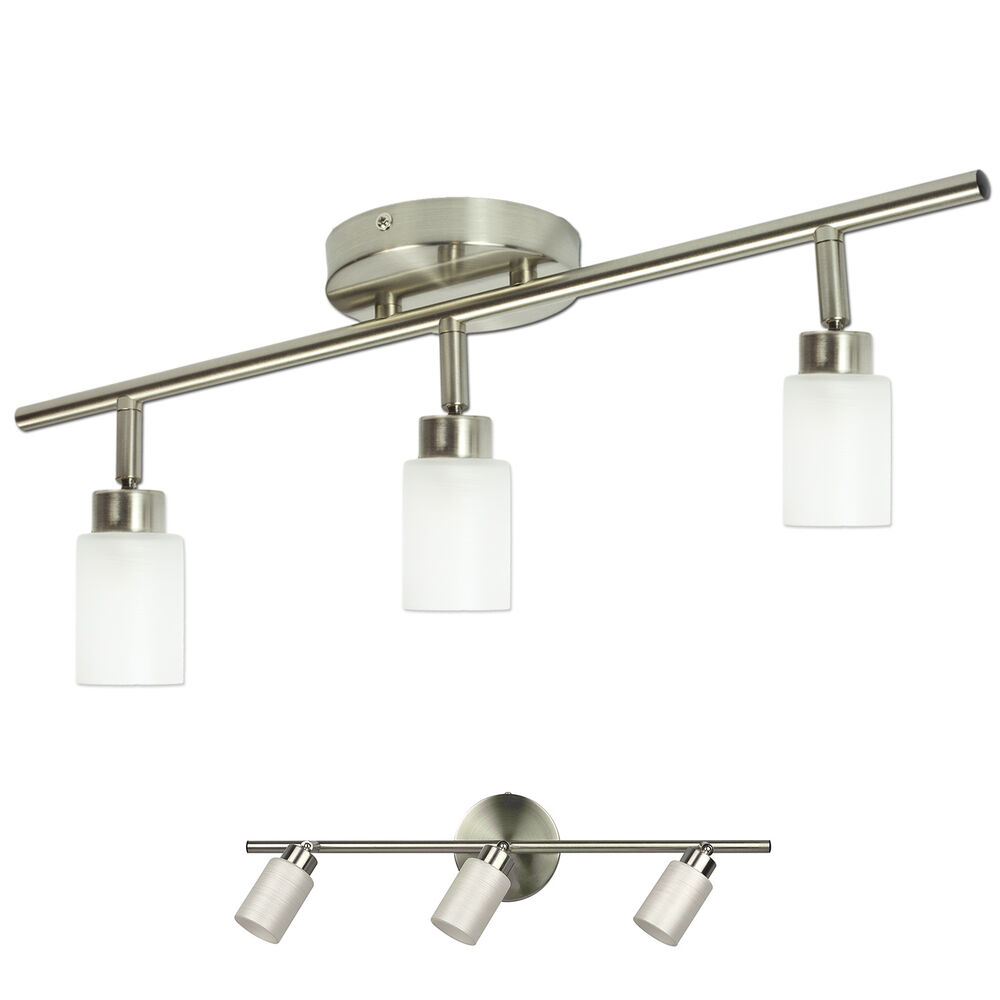 Wall Mounted Track Lights : Brushed Nickel 3 Light Track Lighting Fixture Wall or Ceiling Mount eBay