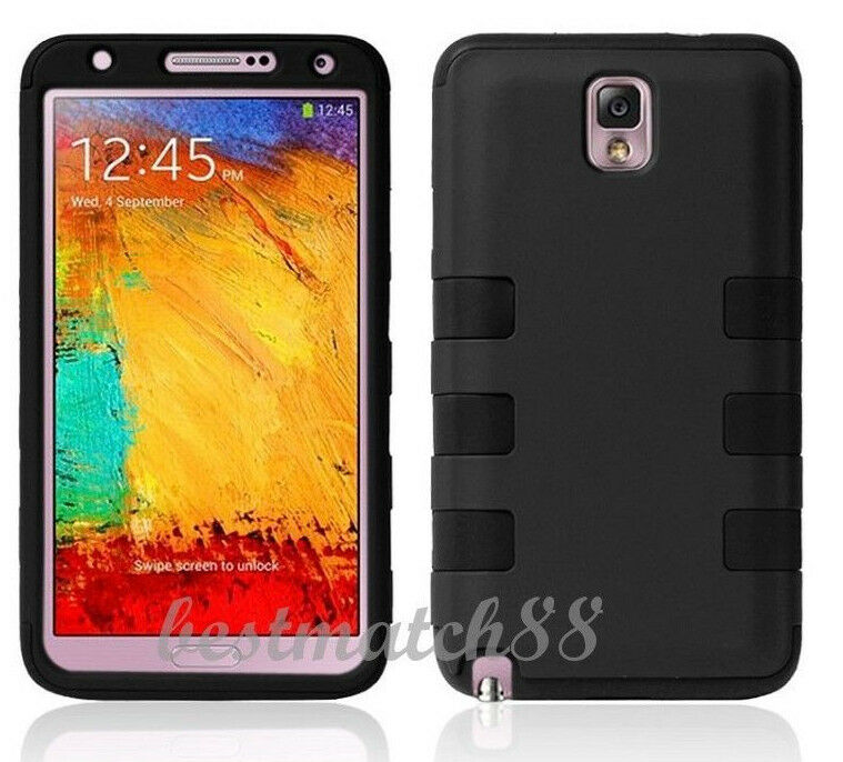 For Samsung Galaxy Note 3 case black 2 layer hybrid soft hard cool ...
