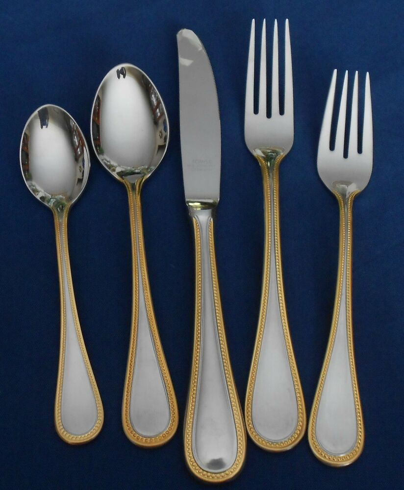 Towle Stainless Beaded Antique Gold 18 8 Germany Satin
