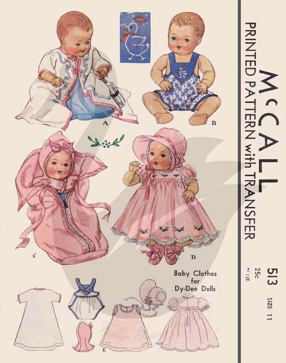 reproduction vintage dy doll clothes sewing pattern