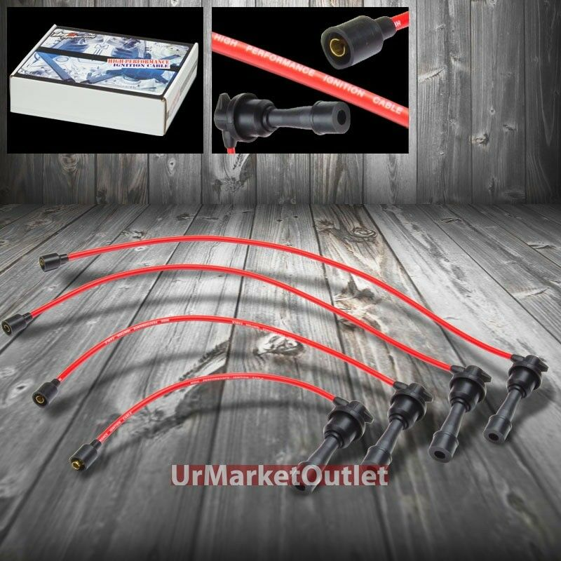 Red Spiral Core Spark Plug Ignition Cable Wires For Eagle