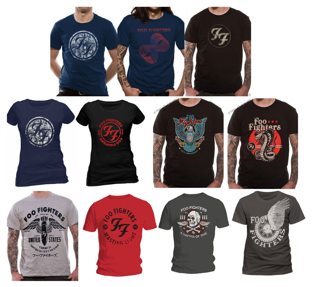 eff85f0db3f OFFICIAL Foo Fighters T Shirt Sonic Highways Eagle Gold Red Logo Wasting  Light