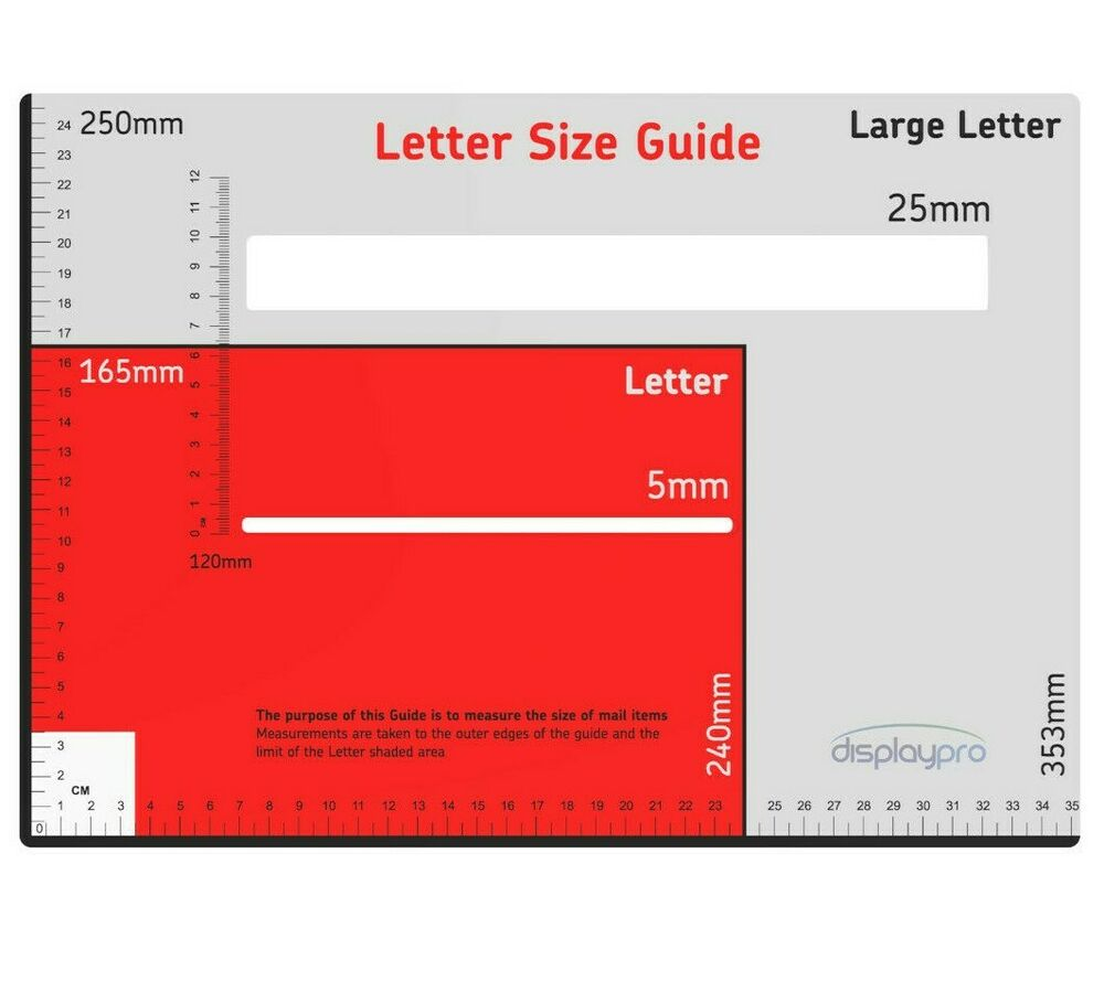 Royal Mail Postal Template Size Guide Postage Package