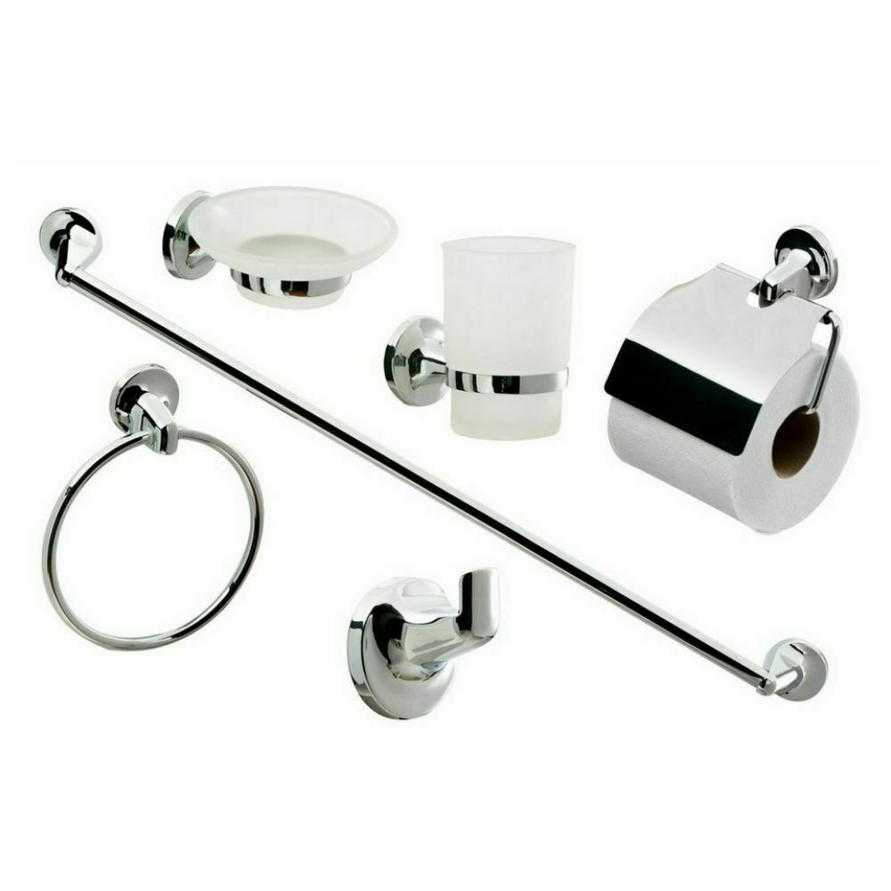 6pcs chrome bathroom wall mount accessory set toilet roll for Bathroom accessories toilet roll holder