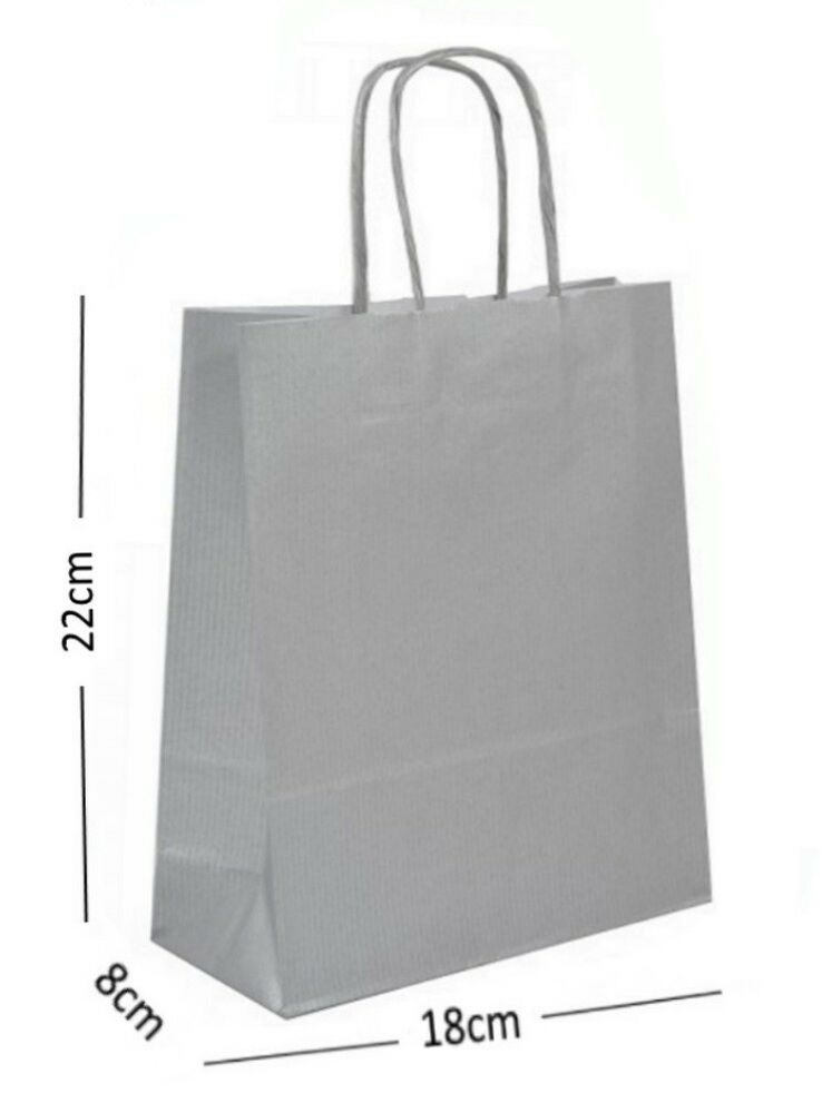 Silver Birthday Party Gift Bags Kraft Paper Loot Gift