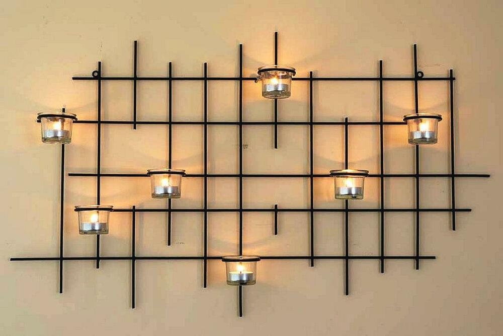 wall mounted tea light holder 7xxl candle metal 83cm tealight candleholder ebay. Black Bedroom Furniture Sets. Home Design Ideas