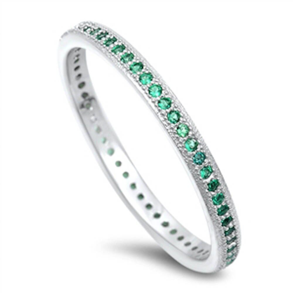 Emerald Eternity Wedding Band 925 Sterling Silver Ring Sizes 4 11