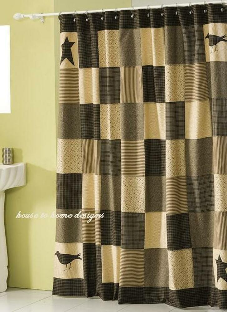 KETTLE GROVE SHOWER CURTAIN BLACK STAR TAN PRIMITIVE