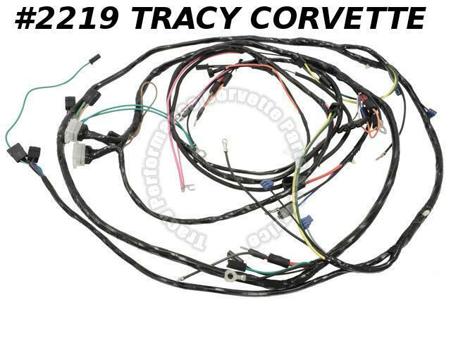 1967 corvette new repro engine  forward lamp wiring harness usa made lectric ltd