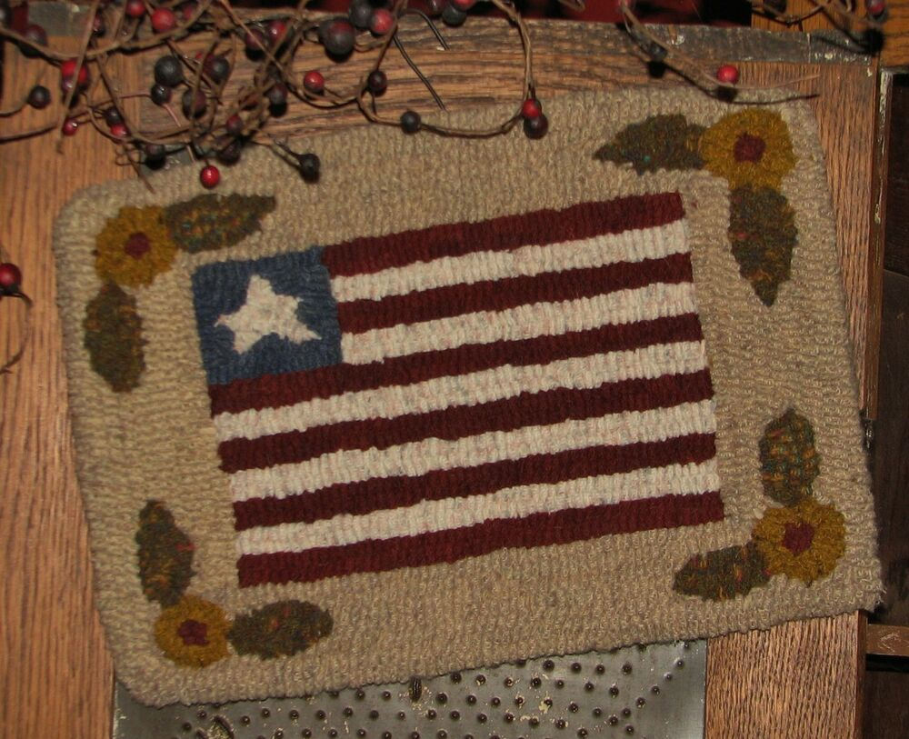 Primitive Hooked Rug Pattern On Linen Quot Petite Prims Series