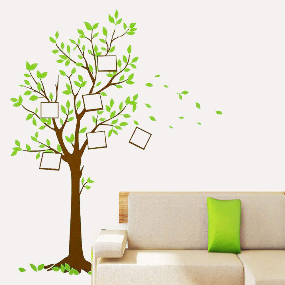 Removable vinyl decals photo frame tree wall stickers art for Diy photographic mural