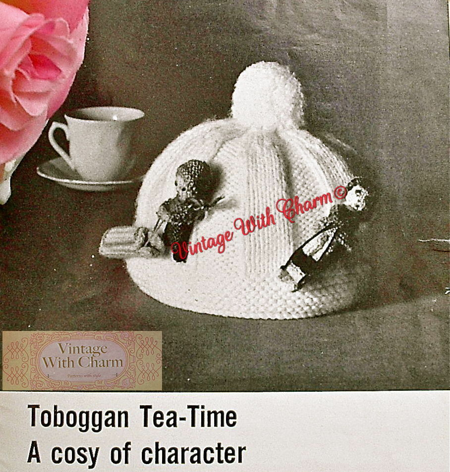 Free Knitting Patterns Flowers : Vintage Knitting Pattern Toboggan Tea Cosy. A Seasonal Cosy With A Difference...