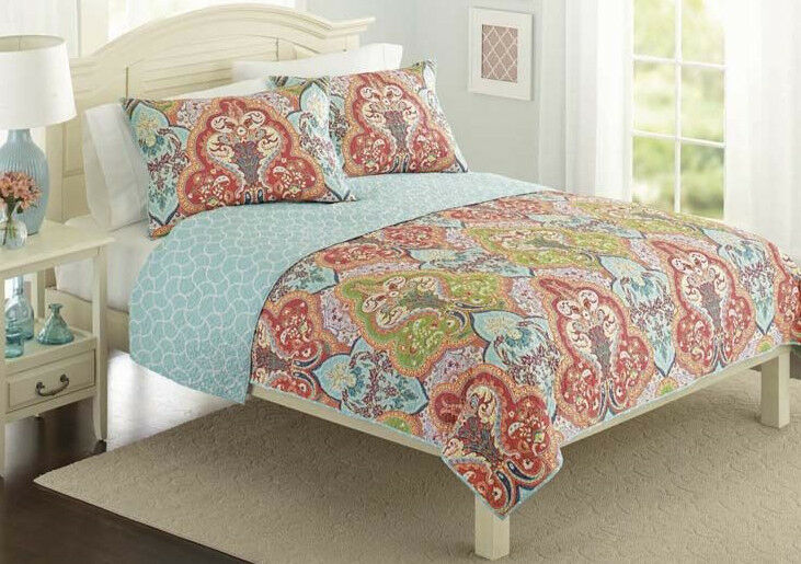 Turquoise & Coral Tropical Beach Damask Full / Queen Quilt