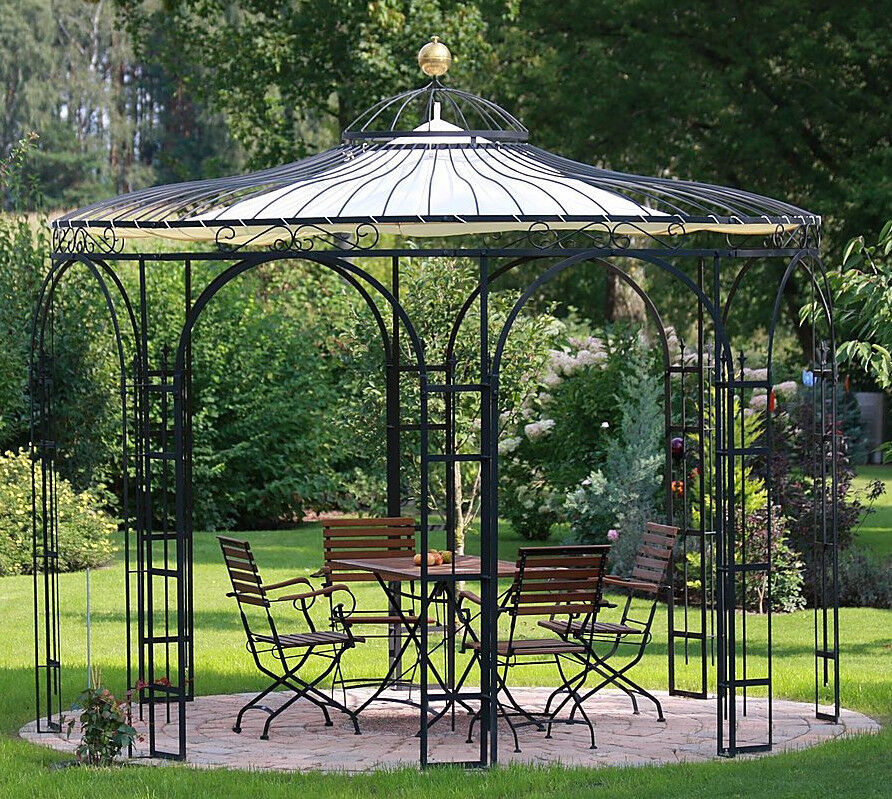 gartenpavillon 3 7m schmiedeeisen rankpavillon eleo pavillon florenz ebay. Black Bedroom Furniture Sets. Home Design Ideas