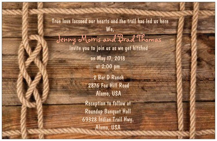 Rustic Western Wedding Invitations: 50 100 RUSTIC Western Rope Knot Any Font Color