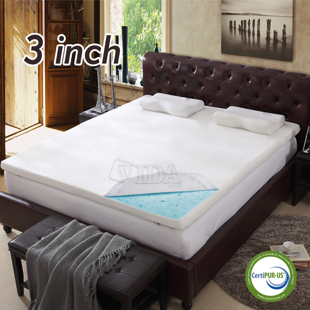 "3"" inch Cool Gel Memory Foam Mattress topper pad twin full"
