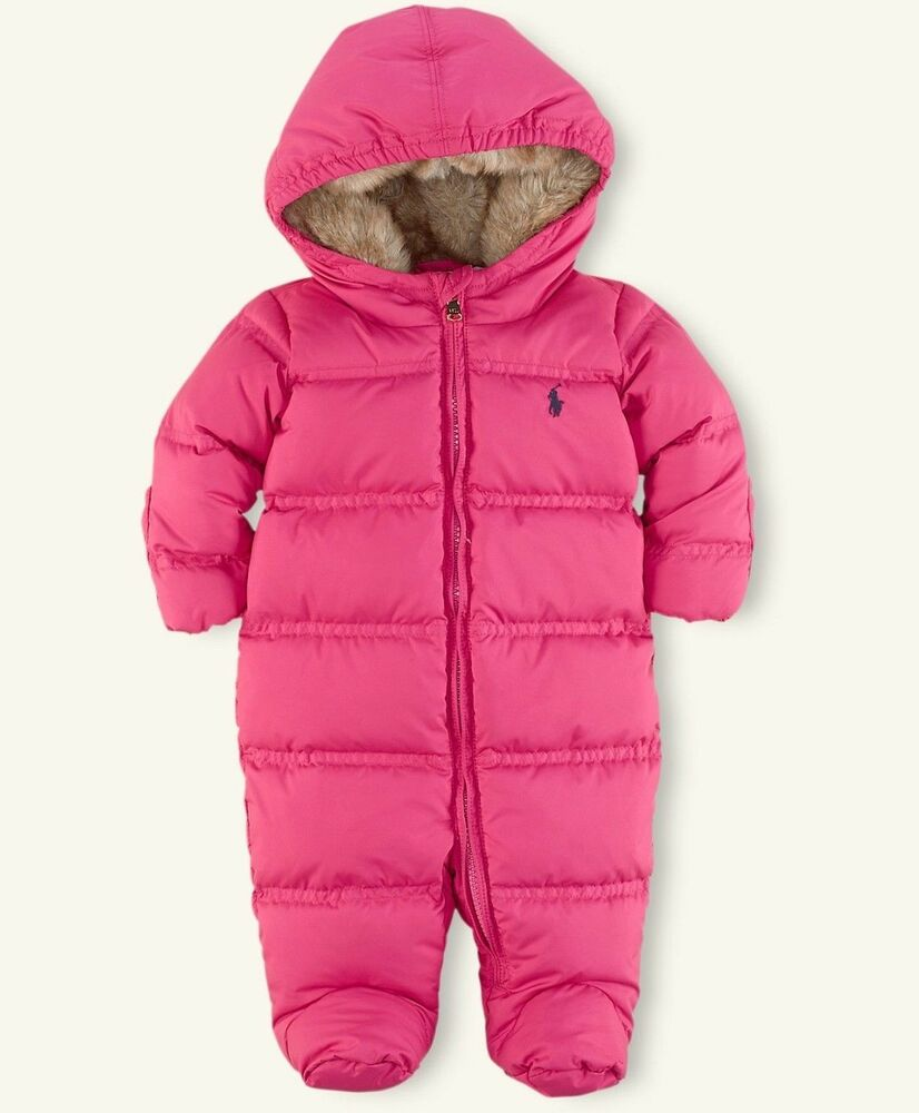 new 165 ralph lauren baby girls quilted down snowsuit. Black Bedroom Furniture Sets. Home Design Ideas