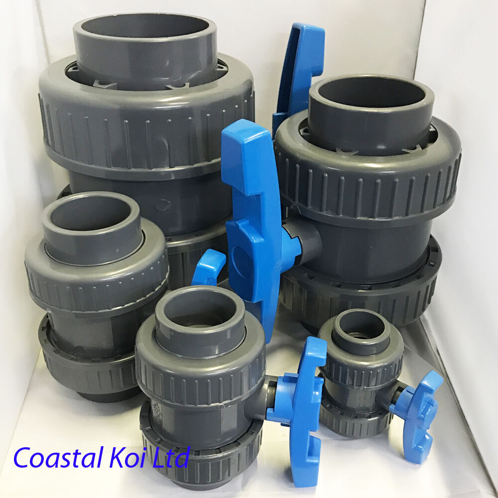 1 11 2 2 3 4 double union ball valves pvc koi pond for Koi pond plumbing