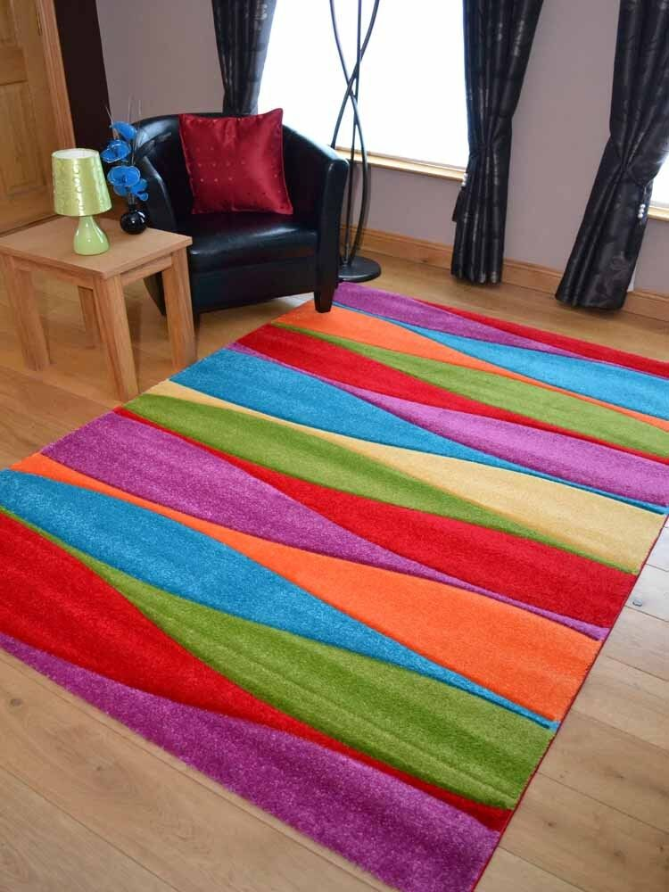 Modern Thick Dense Pile Bright Coloured Soft Wavy Stripe