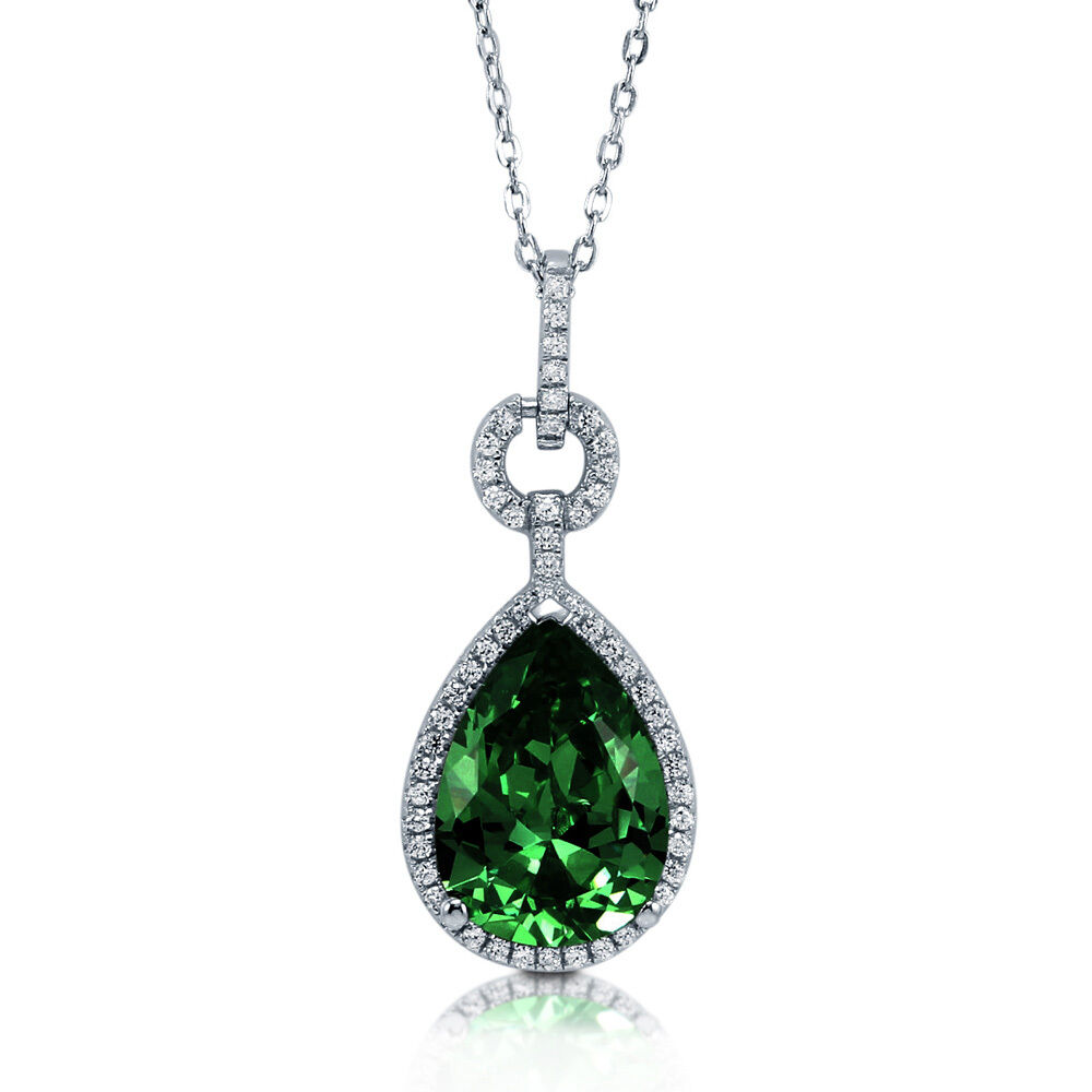 berricle sterling silver pear cut simulated emerald cz