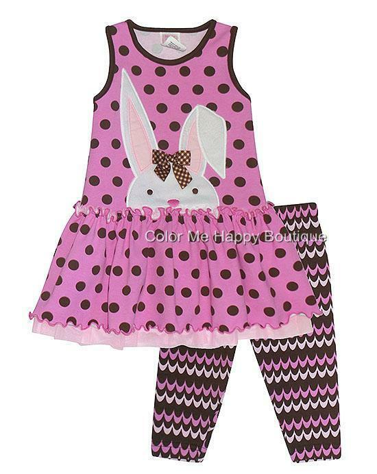 New girls boutique peaches n cream sz 3t pink brown bunny outfit