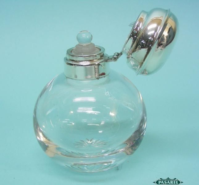 English Sterling Silver Mounted Glass Perfume / Scent ...