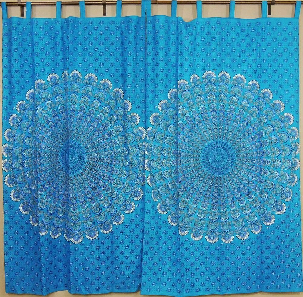 Peacock Curtains Blue Indian Cotton Window Panels With Tail Fan Pattern Print Ebay