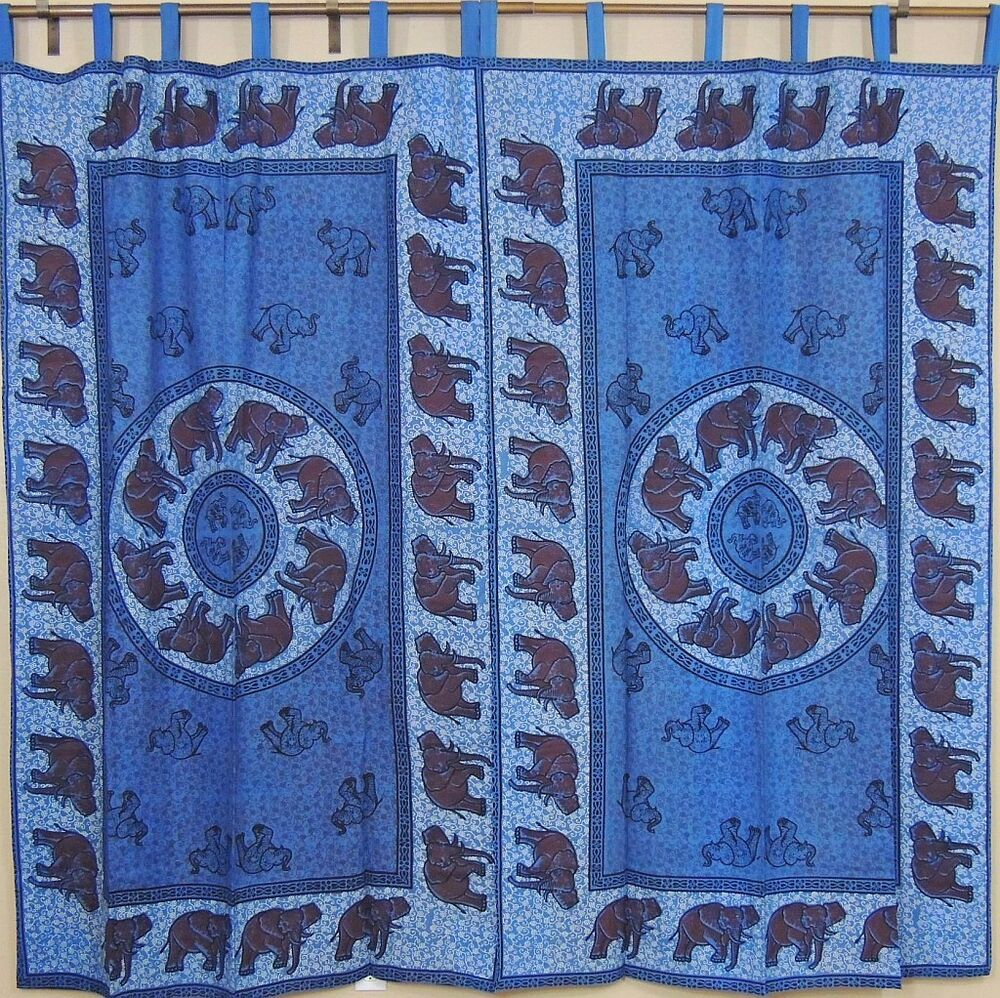 Indian Blue Curtains - Tab Top Cotton Fabric Tab Top ...