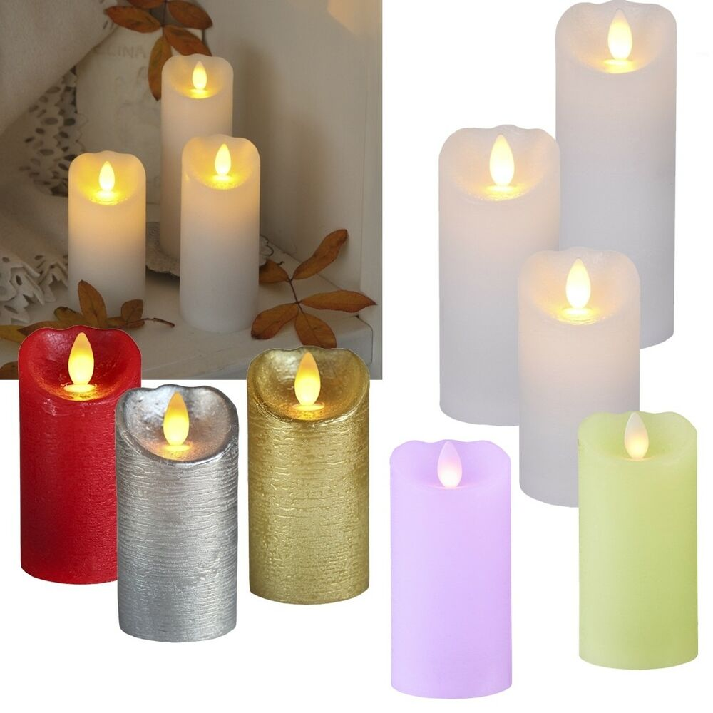 led echtwachs kerze mit timer flackernde flammenlose kerzen flackernd candle ebay. Black Bedroom Furniture Sets. Home Design Ideas