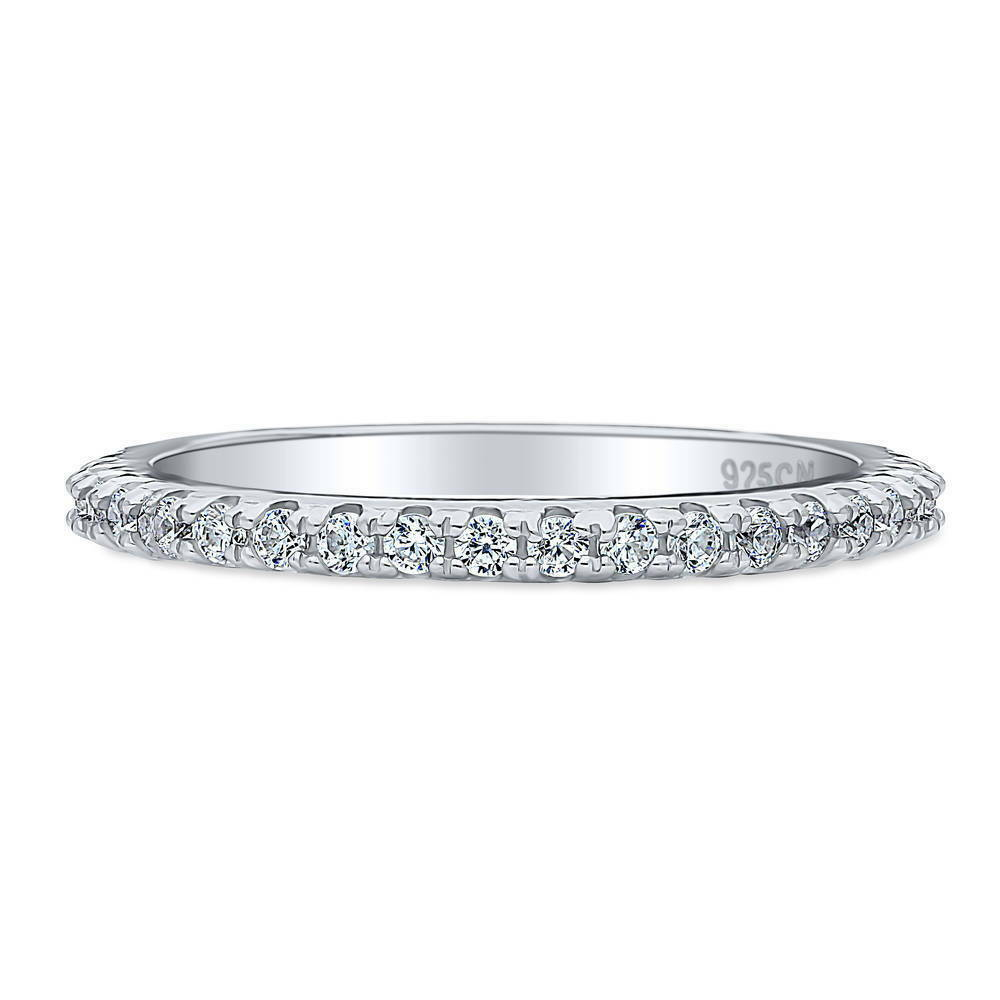 Half Eternity Band Bands: BERRICLE Sterling Silver Round CZ Anniversary Half