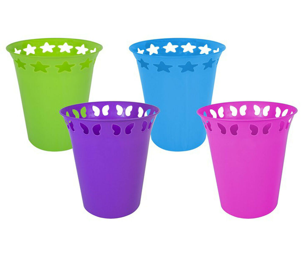 Waste paper bin plastic blue green pink or purple ebay for Purple bathroom bin