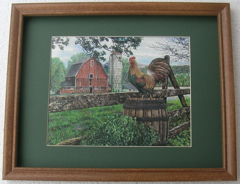 Framed Art: Rooster Pictures Silo Red Barn Framed Country Pictures