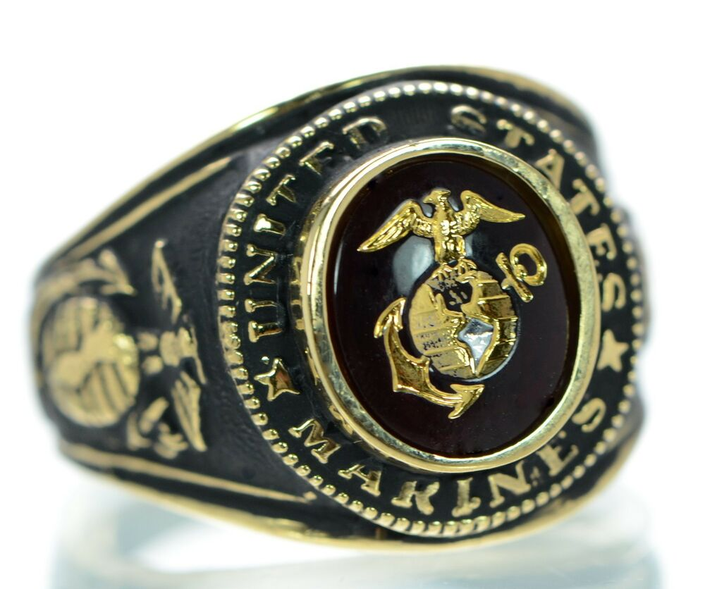 Men's US Marine Corps 18K Gold Plated Ring Size-10 | eBay