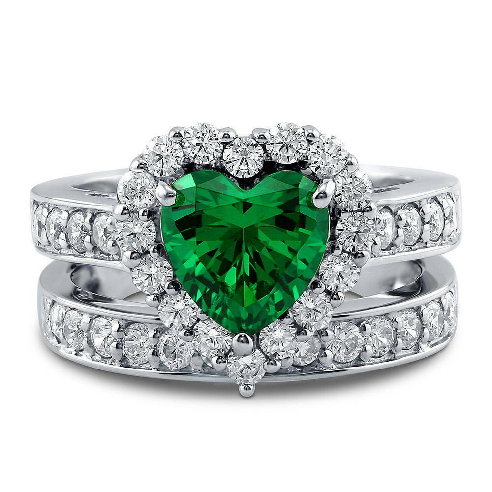 Silver Heart Shaped Simulated Emerald Cz Halo Engagement