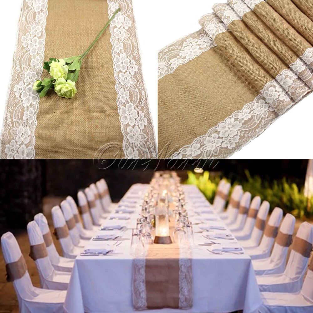 Vintage jute burlap lace hessian table runners wedding for Wedding party table decorations