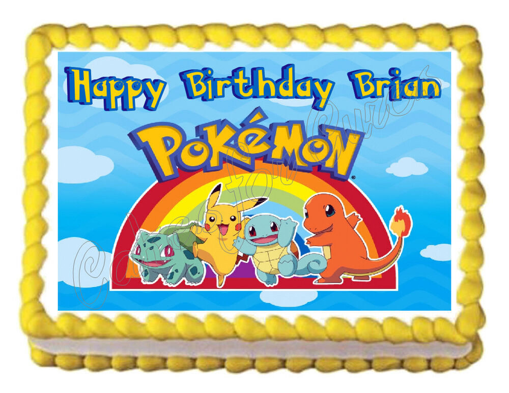 Photo Cake Images Edible : POKEMON Party Edible image Cake topper decoration ...