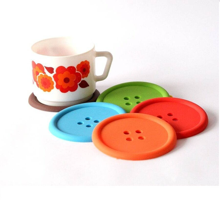 Funky Colourful Button Coffee Tea Drinks Cup Coaster Table
