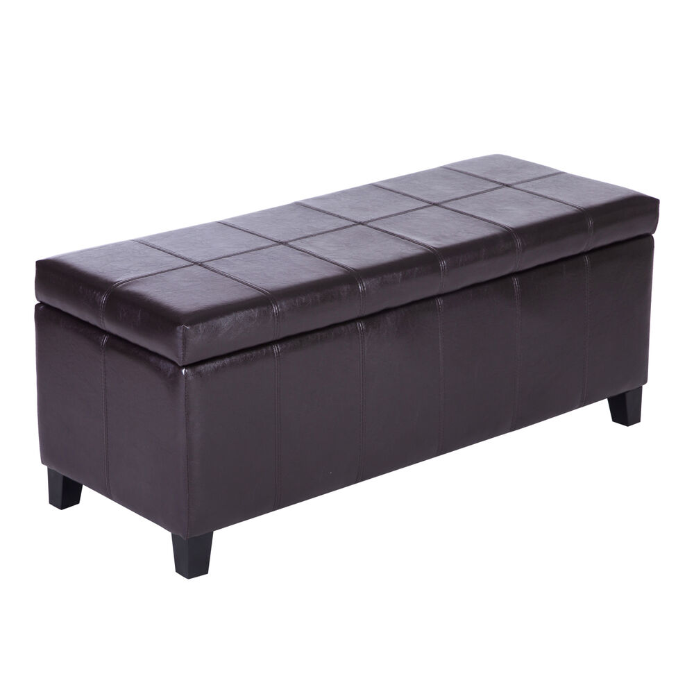 leather ottoman pillow storage bench seat bedroom chair modern wood stool brown ebay