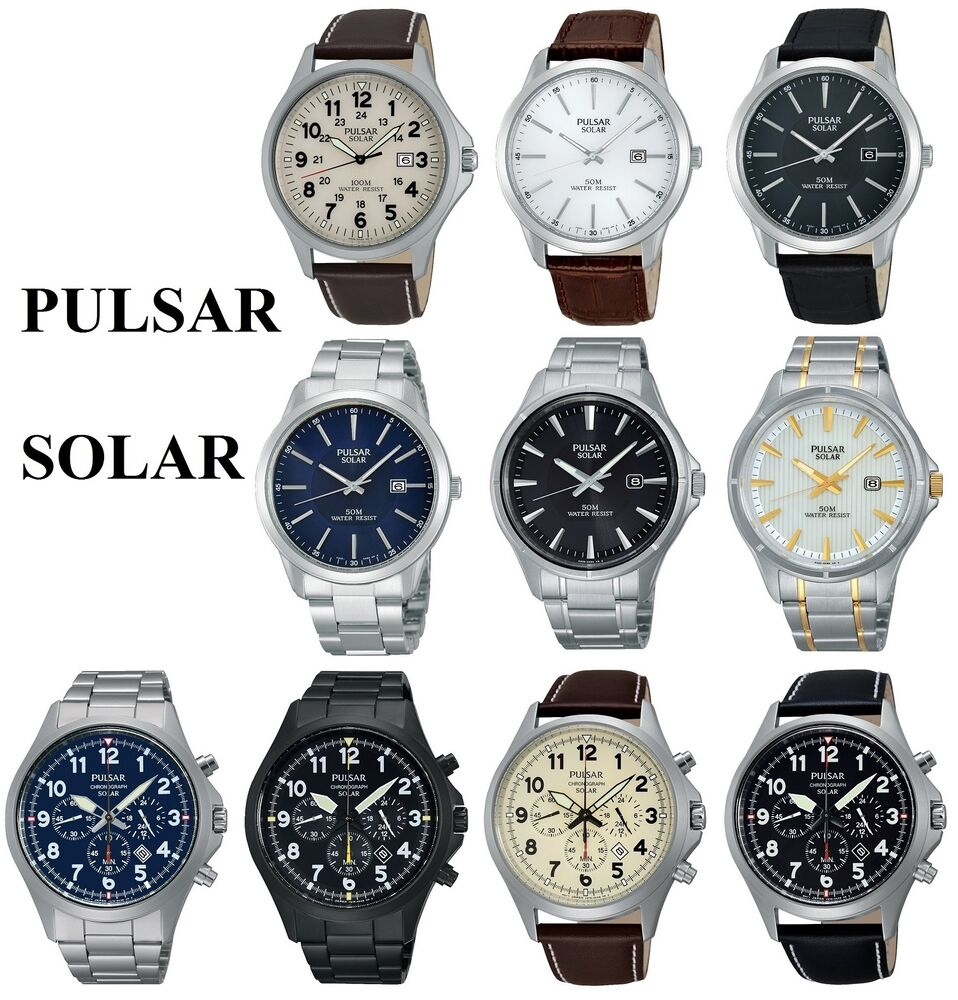 Pulsar solar power gents watch stainless steel bracelet or leather strap ebay for Solar power watches