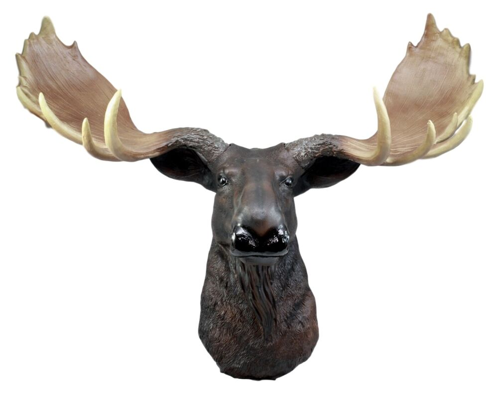 Moose head bust hanging wall mount home decor collection statue figurine ebay - Fake moose head ...