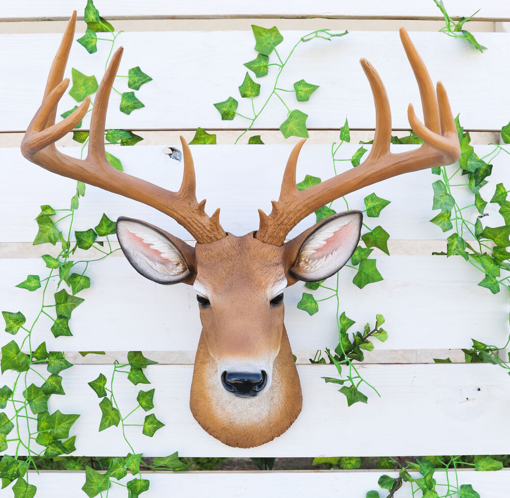 Deer buck head bust hanging wall mount home decor Eba home interior figurines