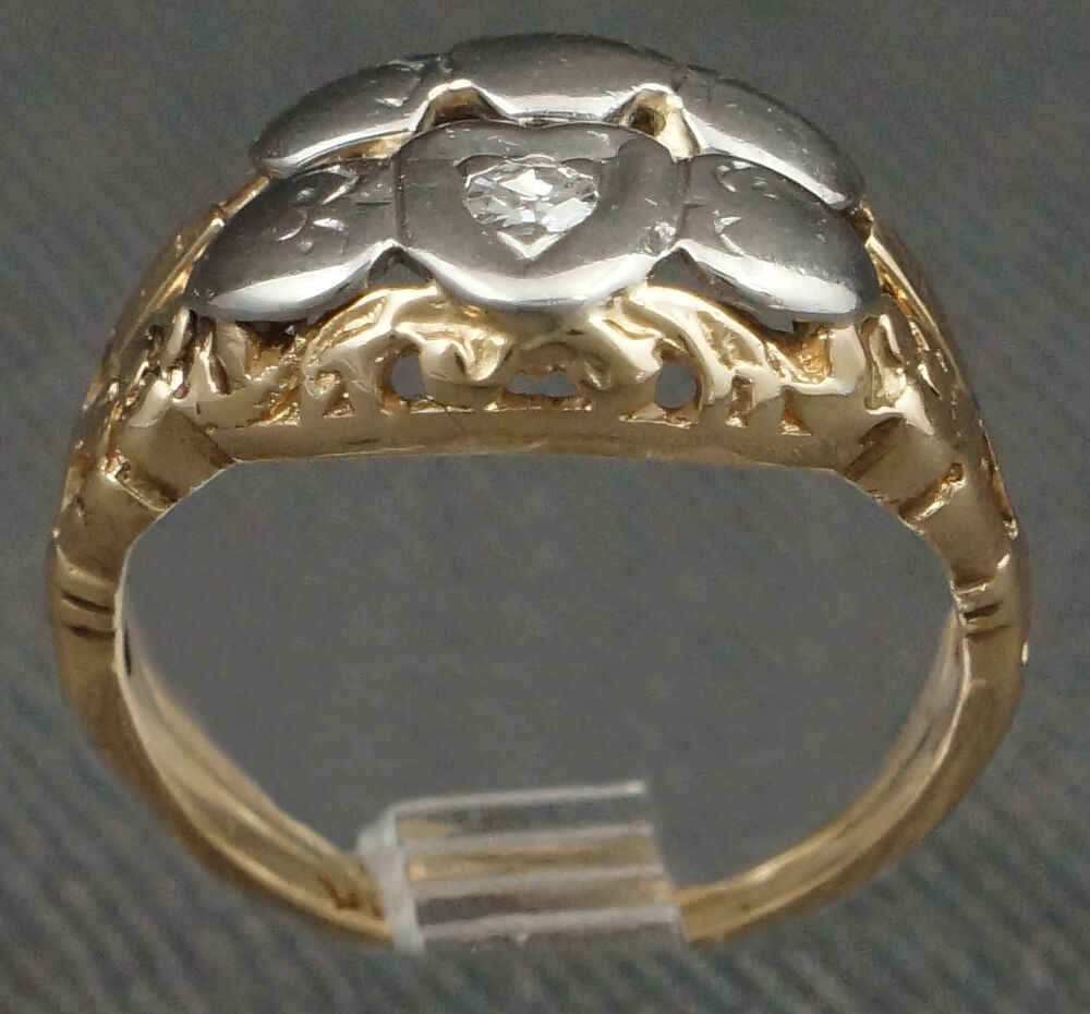 Two Tone Solid 14k Gold Amp Diamond Heart Motif Engagement